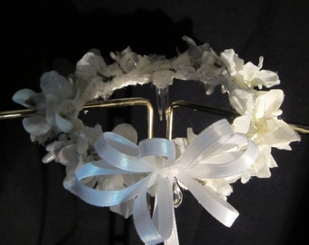 LBD213 /  Perfect for Communion, head wreath made of white silk flowers,pearls and faux crystals