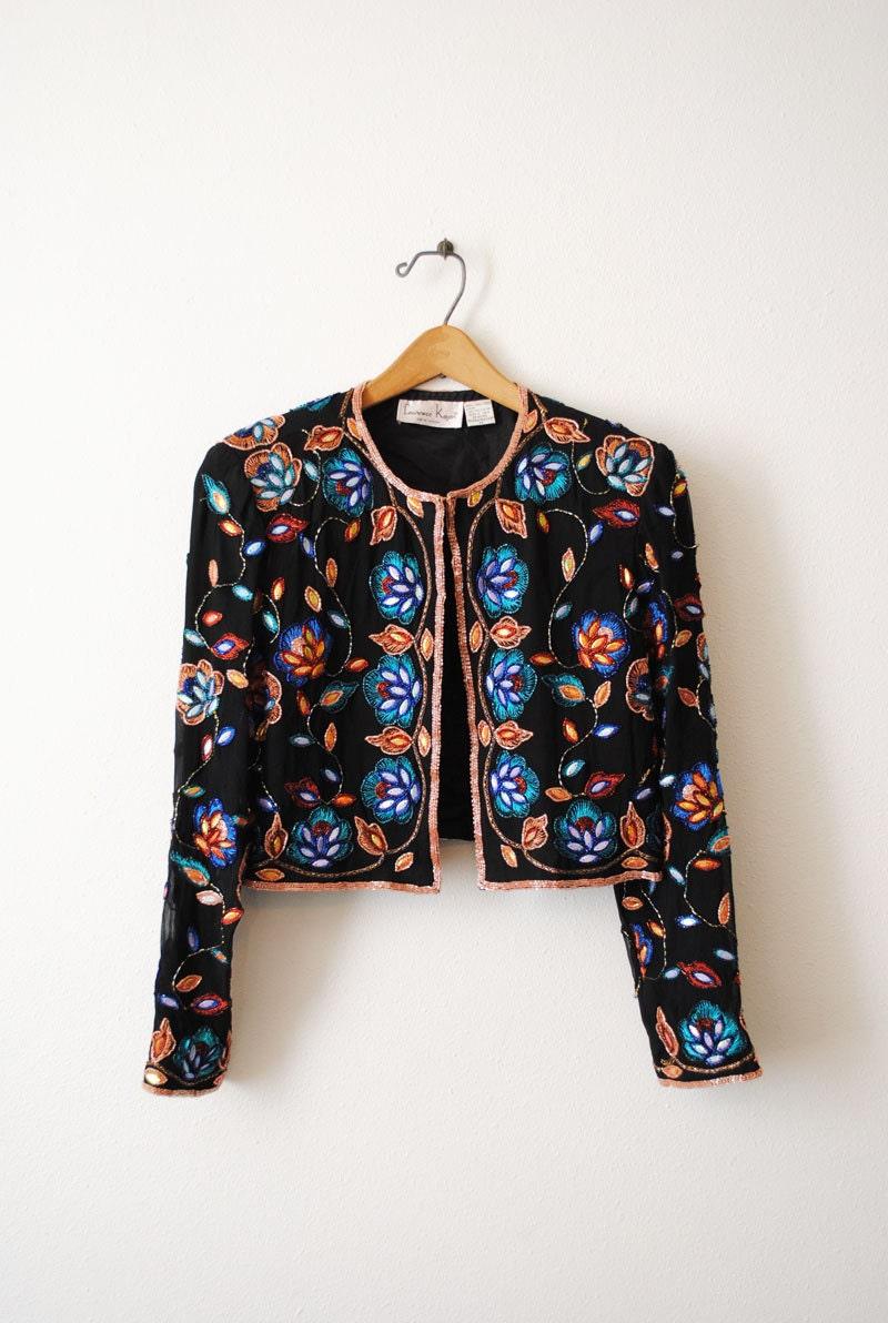 Vintage 1980s Beaded Silk Evening Jacket Medium