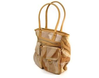 Leather Patchwork Handbag - Vintage Leather Purse - Totebag