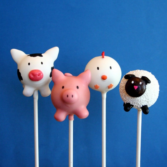 12 Farm Animal Cake Pops Cow Pig Chicken Sheep By