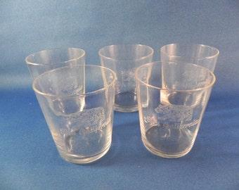 Vintage Shot Glasses  Four California  Bear Embossed in Glass