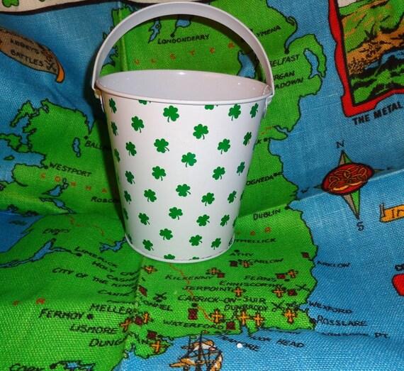 Shamrocks bucket beach pail Irish tin with handle party favors centerpieces