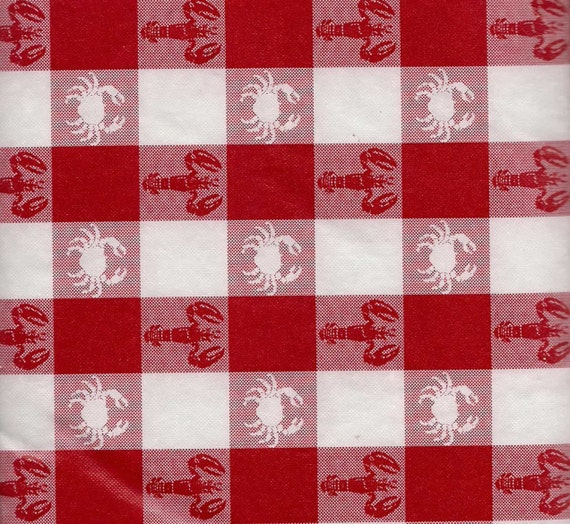 Gingham Red White Check Tablecloth Vinyl Lobsters Crab 52 X 52