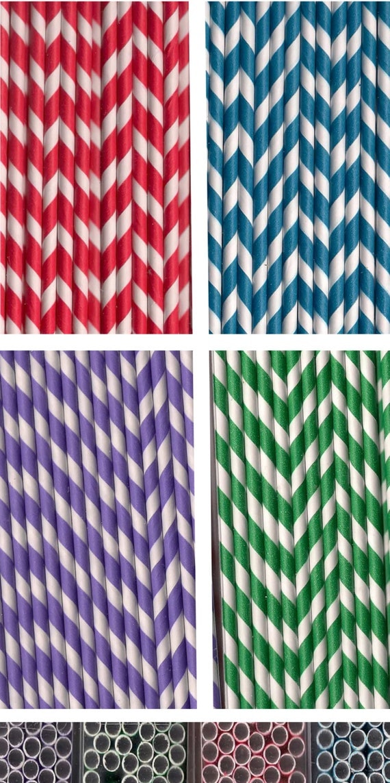 Striped paper straws beverages parties weddings red blue green or purple 48 ct