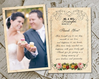 "50 Wedding Thank You Card - LoireValley Vintage Photo Personalized 4""x6"""