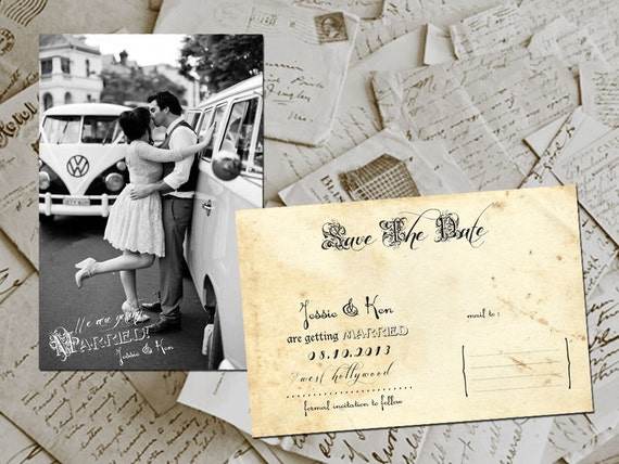 """Wedding Save The Date Card - WestHollywood Vintage Photo Personalized 4""""x6"""""""