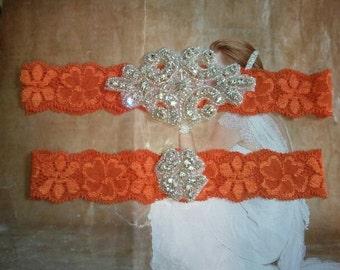 SALE - Wedding Garter Set - Rhinestone Garter Set on an Orange Colored Lace - Style G10038