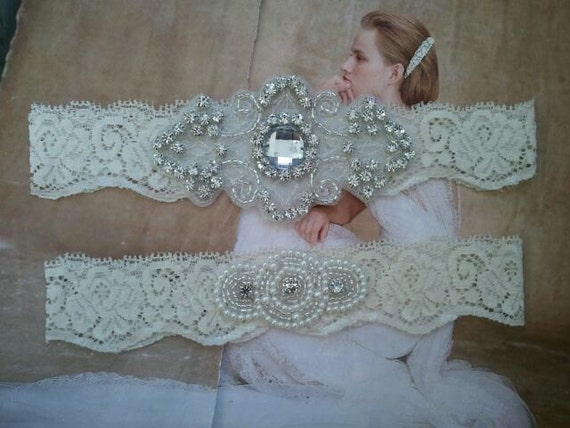 Bridal Garter, Wedding Garter and Toss Garter Set - Pearl & Rhinestone on a Ivory Lace - Style G239