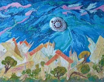 Landscape with a Flying Machine, oil painting, mixed media, assemblage