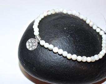 Yoga Bracelet - Silver Flower Charm, silver bracelet - meditation bracelet, White Shell Beads Bracelet, Boho Spiritual Jewelry, Zen Jewelry