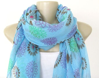 Scarf - Blue Floral Large Scarf