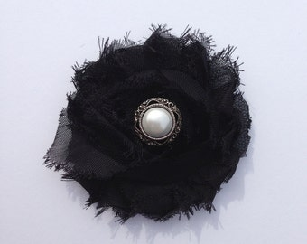 Black Rosette Flower Clip with Vintage Inspired Button