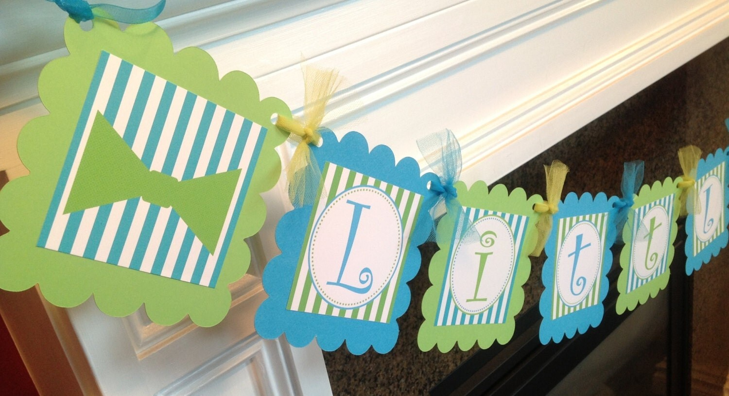 party pack little man curly q bow tie baby shower collection. Black Bedroom Furniture Sets. Home Design Ideas