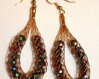 Gold Tone Wire Net Earrings