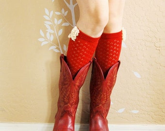 Birthday gift for her. beautiful red lace socks , boots socks. red soft cotton socks, gift for her