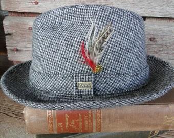 Vintage Grey Mens Fedora, Mid Century men's hat, vintage Adam of New York tweed fedora SIZE Medium, 1950s mens wool fedora with feathers