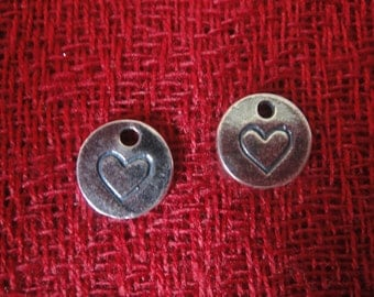 925 sterling silver oxidized heart charm  1 pc.