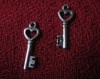 925 sterling silver oxidized  heart key charm 1 pc.