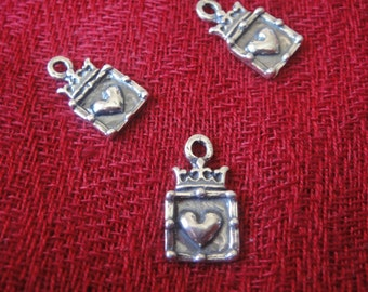 925 sterling silver oxidized crown heart charm pendant 1 pc.