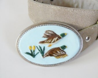 Belt Buckle Flying Ducks Handmade Belt Buckle Sculptured Duck Belt Buckle Casual Art Belt Buckle