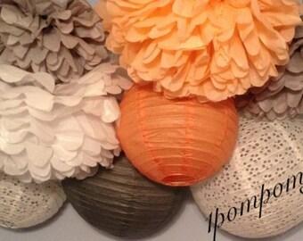 PEACH PUFF / 4 Tissue Paper Pom Poms/4 Paper Lanterns / Baby Shower, Birthday, Wedding Shower, Bridal Shower, Nursery Decor