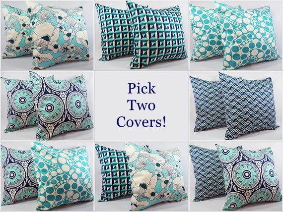 Navy And Teal Throw Pillows: Navy And Teal Pillow Cover Teal Pillow Cover By