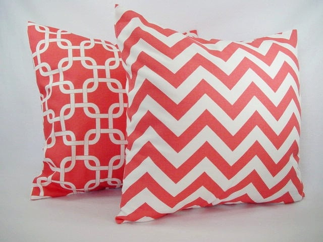 Throw Pillows With Coral : Two Coral Decorative Throw Pillows Coral and White Coral