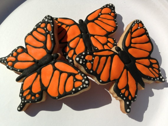 Monarch Butterfly Hand Decorated Sugar Cookie - 1/2 dozen