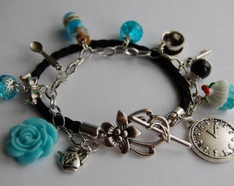 "Alice in Wonderland Jewellery bracelet Vintage handmade Gift with small glass bottle ""DRINK ME"""