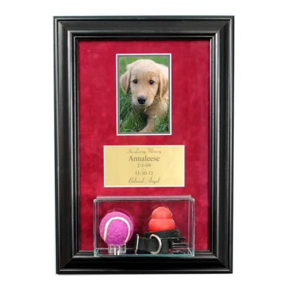 Pet Memorial Picture Frame With Eng And Display Case Dog
