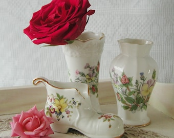 Vintage Aynsley small narrow vase and boot with floral designs. Pair.