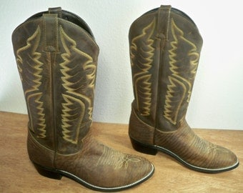 Vintage Justin Exotic Rancher Cowboy Western Brown Leather Riding Pull On Two-Tone Mens Boots Size 9
