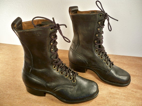 vintage currier s handmade logger lace up work black by
