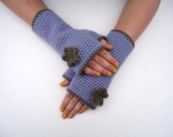 Fingerless gloves Flower, crochet fingerless mittens, in light purple and brown, size medium