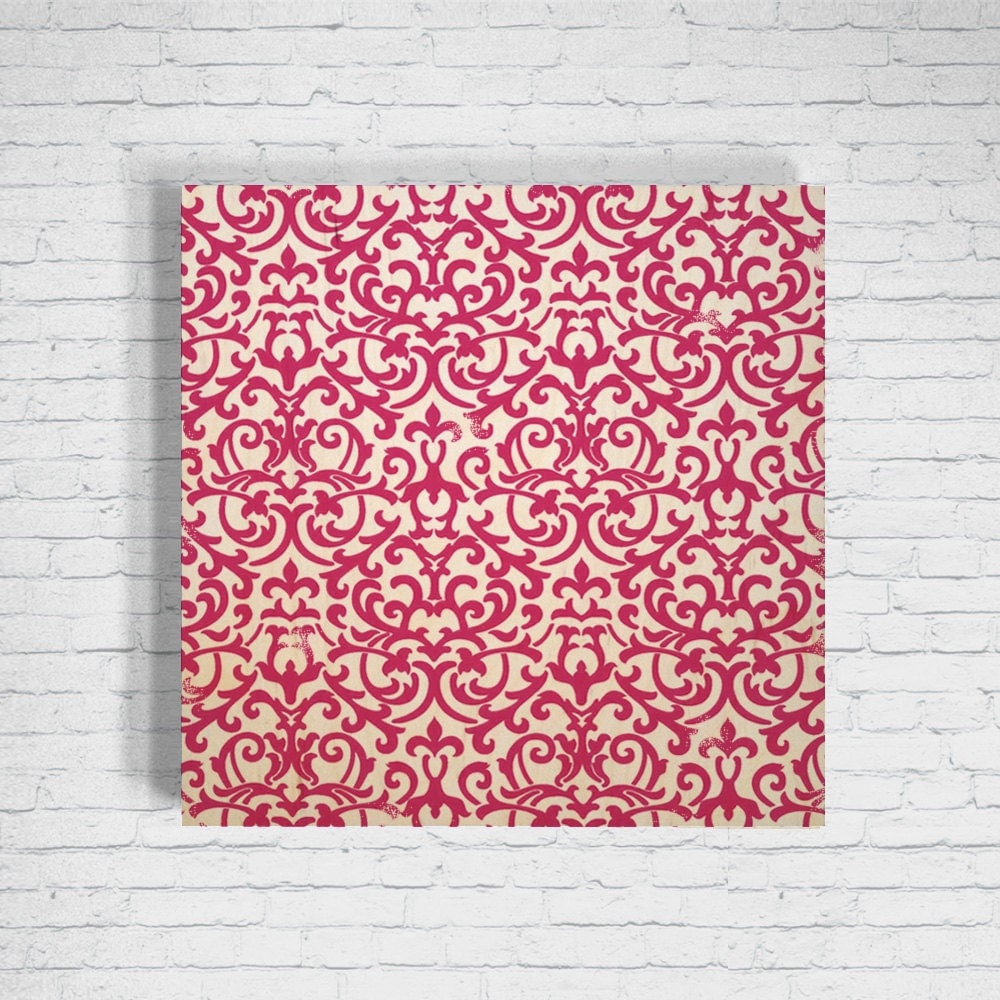 Fuschia Baroque Pattern over Wood Birch Wall Art