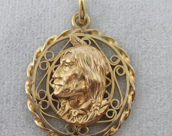 Handmade Native American Man Profile, Cameo in Filigree, Unusual One of a Kind WNCZ1R-D