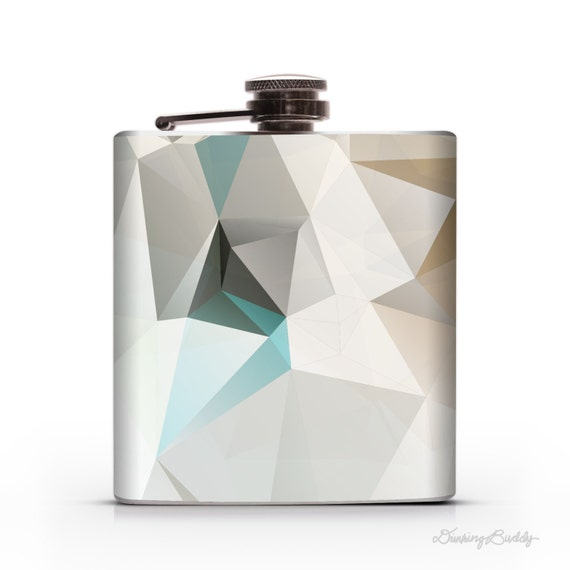 Turquoise Gold Geometric - 6oz Whiskey Hip Flask