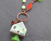 Little Green House necklace, OOAK necklace, artisan jewelry - BeadyDaze