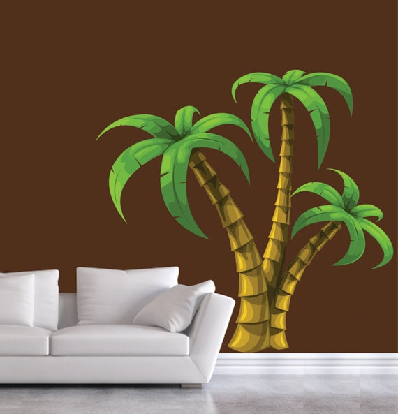 palm tree wall decal extra large decal. Black Bedroom Furniture Sets. Home Design Ideas