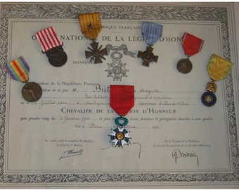 France WW1 6 Military Medals Knight Order Legion Honor w DIPLOMA Victory War Cross 1914 18 Valor French Decoration Merit