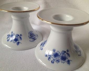 Vintage candle holders floral print porcelain white blue pattern Seltmann Bavaria candleholders Retro candle holders Candlestick