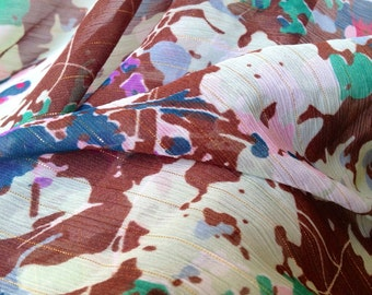 Lovely sheer 70s retro vintage fabric. Scandinavian design. Perfect for clothes