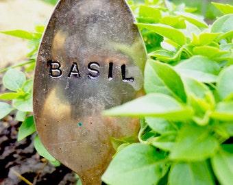 Basil- Vintage Spoon Herb Marker