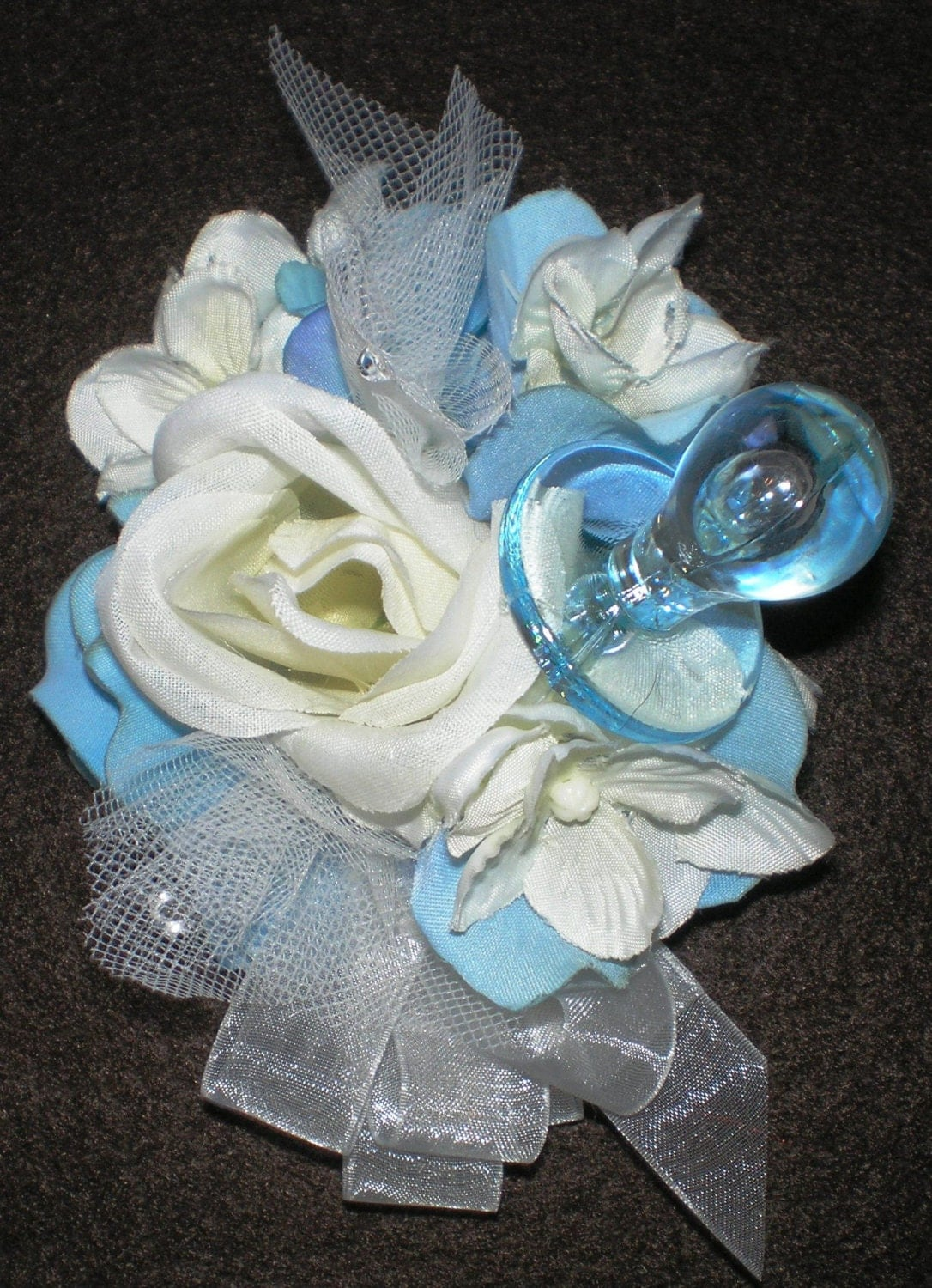 blue baby boy satin ribbon rose corsage wrist corsage baby