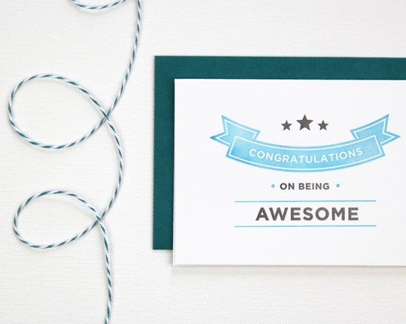 Congratulations on Being Awesome Letterpress Greeting Card - Blue