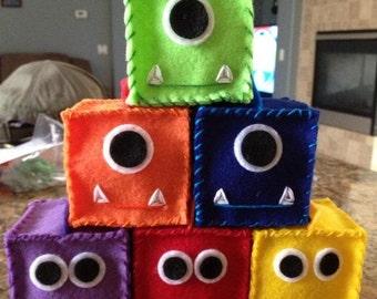 Monster Baby Blocks Set of 10 (You choose colors)- Eco Friendly Felt