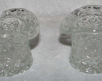 Vintage Depression Glass Clear Top Hats 2 1/2 Inches Tall
