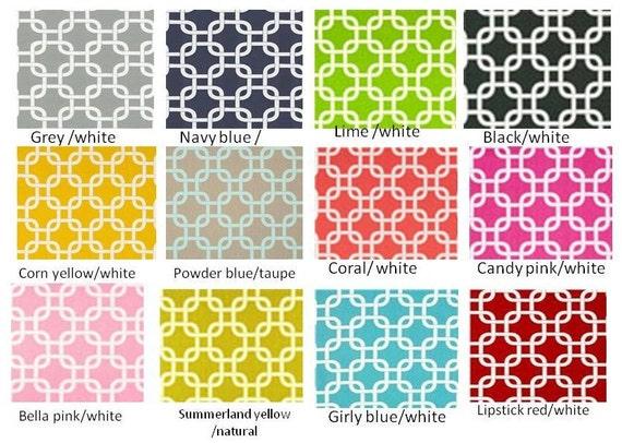 "Pair of 25"" geometric gotcha panels, drapes, curtains- grey green lime ..."