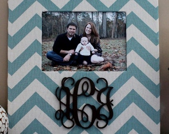 Monogram Slate Blue Chevron Frame with a Chocolate Brown Monogram