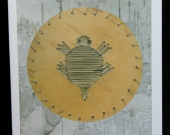 Turtle Porcupine Quillwork Notecard - Native American Style - Blank Inside - Card